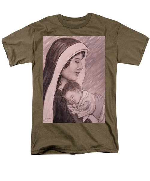 Madonna And Child In Black And White Men's T-Shirt  (Regular Fit) by Kathleen McDermott