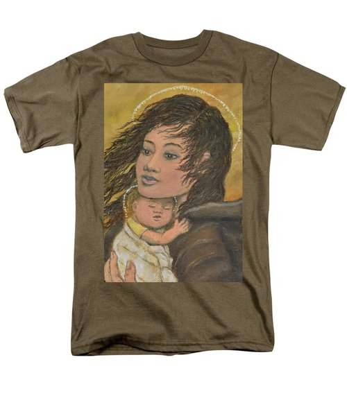 Men's T-Shirt  (Regular Fit) featuring the painting Madonna Of The Prairie Wind by Kathleen McDermott