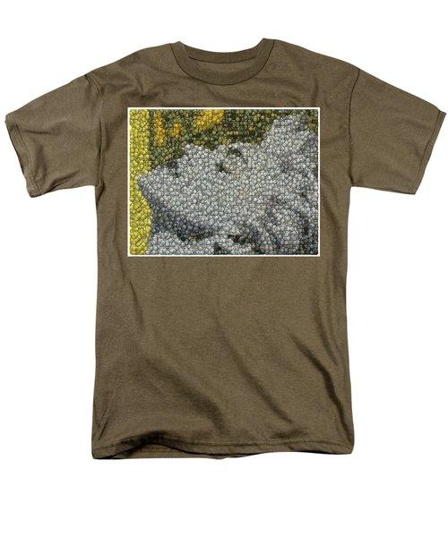 Men's T-Shirt  (Regular Fit) featuring the digital art Madonna True Blue Material Girl Coins Mosaic by Paul Van Scott