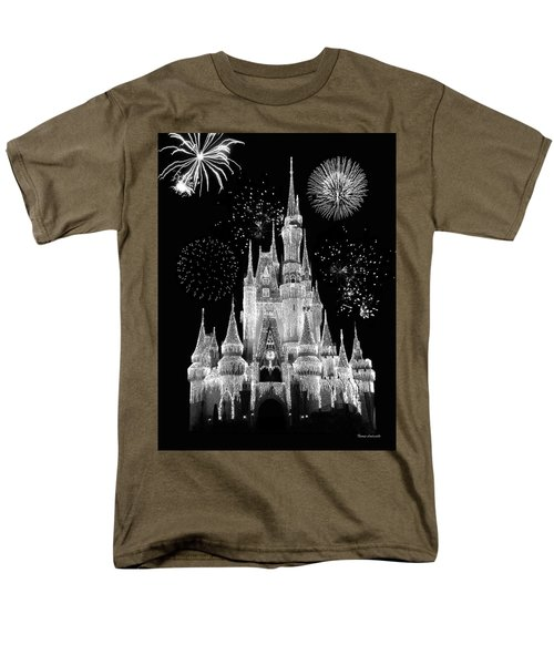 Magic Kingdom Castle In Black And White With Fireworks Walt Disney World Mp Men's T-Shirt  (Regular Fit) by Thomas Woolworth