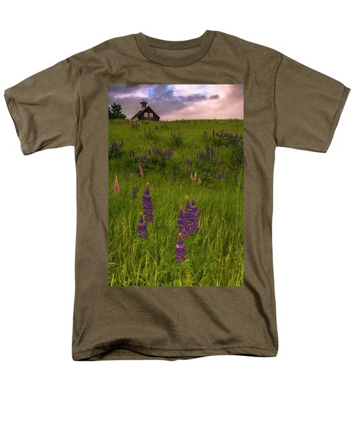 Maine Lupines And Home After Rain And Storm Men's T-Shirt  (Regular Fit) by Ranjay Mitra