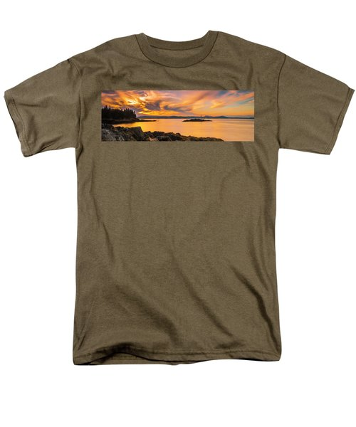 Maine Rocky Coastal Sunset In Penobscot Bay Panorama Men's T-Shirt  (Regular Fit) by Ranjay Mitra