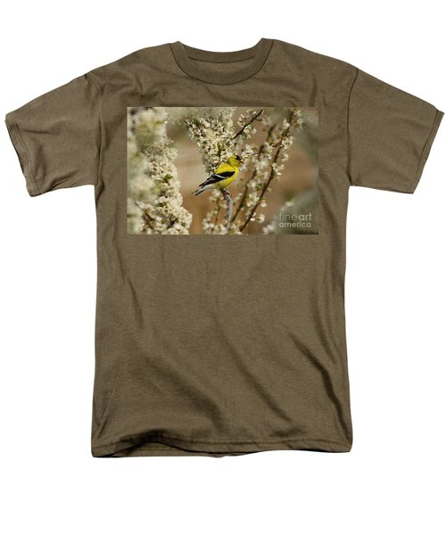 Male Finch In Blossoms Men's T-Shirt  (Regular Fit) by Cathy  Beharriell