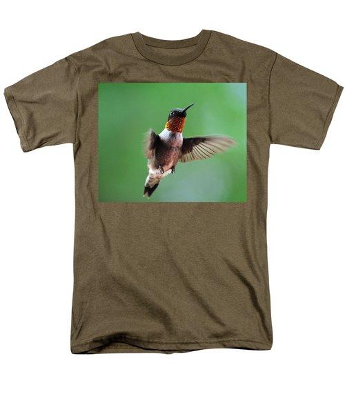 Male Ruby-throated Hummingbird Men's T-Shirt  (Regular Fit) by Kathy Eickenberg
