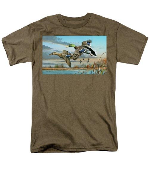 Mallards In Flight Men's T-Shirt  (Regular Fit) by Mike Brown