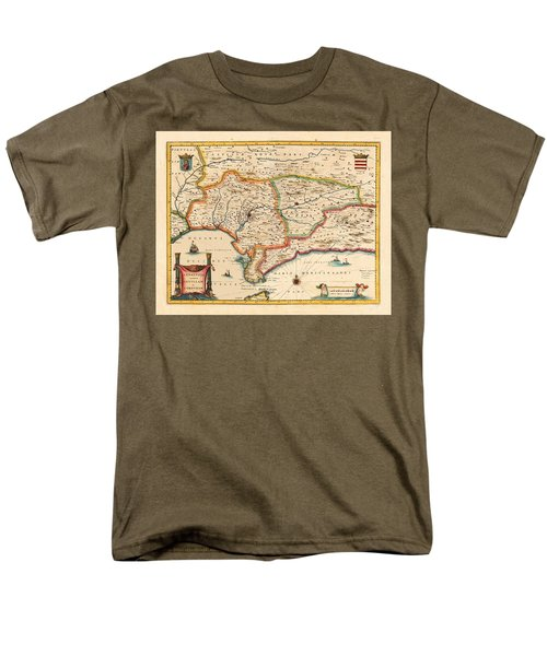 Map Of Andalusia 1650 Men's T-Shirt  (Regular Fit) by Andrew Fare