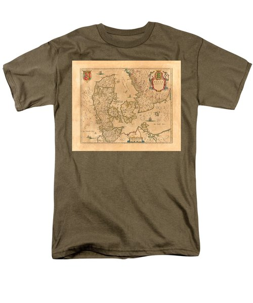 Map Of Denmark 1645 Men's T-Shirt  (Regular Fit) by Andrew Fare