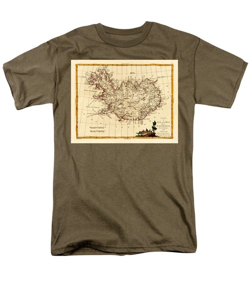 Map Of Iceland 1791 Men's T-Shirt  (Regular Fit) by Andrew Fare