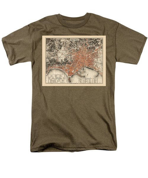 Map Of Naples 1860 Men's T-Shirt  (Regular Fit) by Andrew Fare
