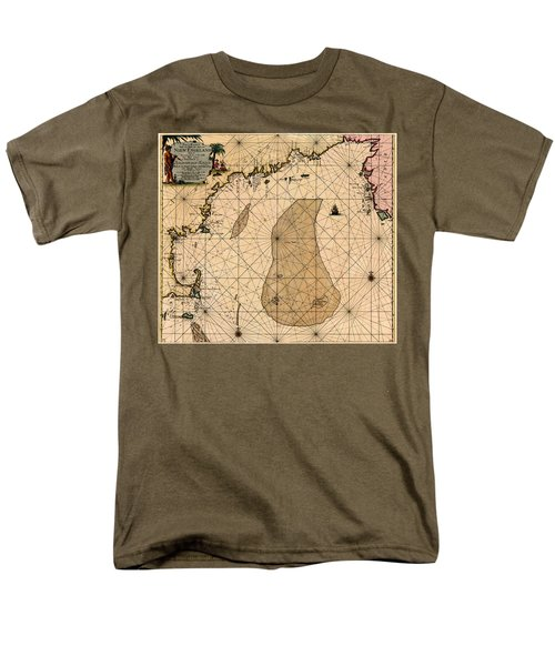 Map Of New England 1700 Men's T-Shirt  (Regular Fit) by Andrew Fare