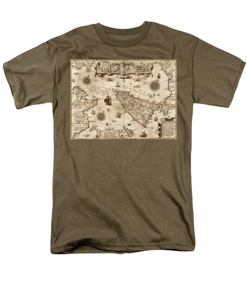 Map Of Sicily 1594 Men's T-Shirt  (Regular Fit) by Andrew Fare