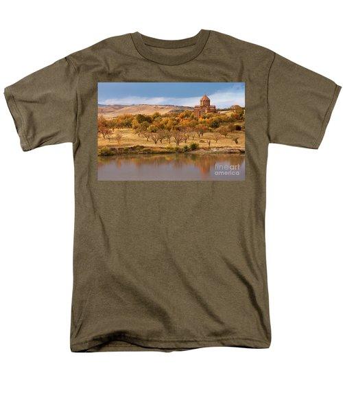 Marmashen Monastery Reflected On Lake At Autumn, Armenia Men's T-Shirt  (Regular Fit) by Gurgen Bakhshetsyan
