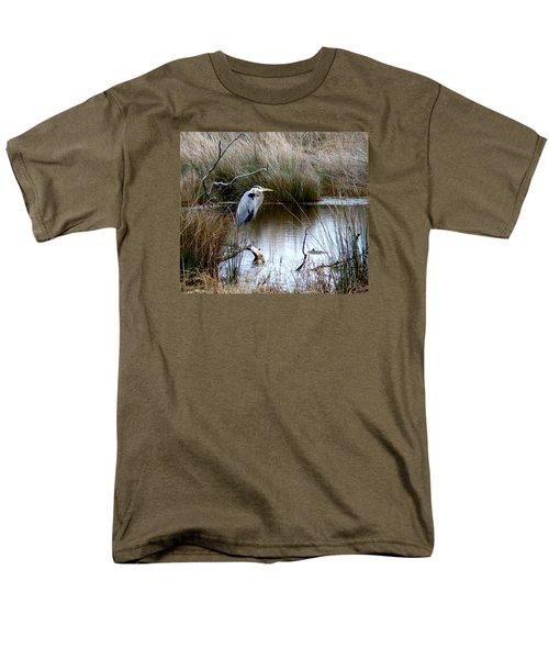 Marsh Pond Great Blue Heron Men's T-Shirt  (Regular Fit) by Phyllis Beiser