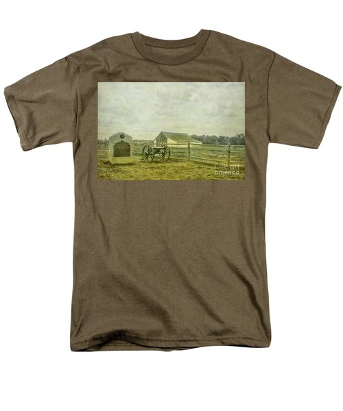 Mcpherson Barn And Cannon Gettysburg  Men's T-Shirt  (Regular Fit) by Randy Steele