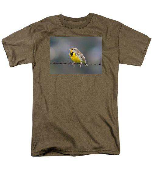 Meadowlark On Barbed Wire Men's T-Shirt  (Regular Fit) by Marc Crumpler