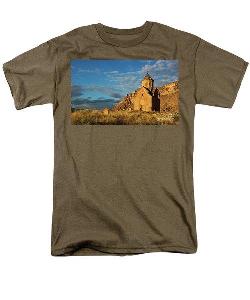 Medieval Areni Church Under Puffy Clouds, Armenia Men's T-Shirt  (Regular Fit) by Gurgen Bakhshetsyan
