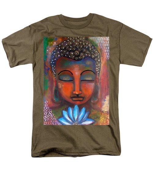 Meditating Buddha With A Blue Lotus Men's T-Shirt  (Regular Fit) by Prerna Poojara
