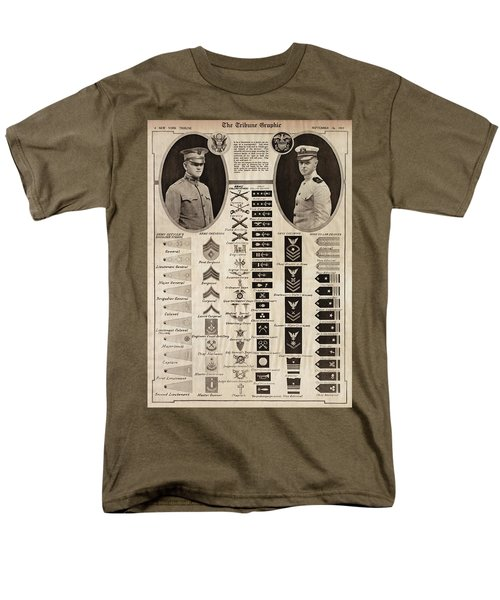 Men's T-Shirt  (Regular Fit) featuring the photograph Military Rank Identification 1917 by Daniel Hagerman