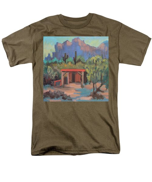 Men's T-Shirt  (Regular Fit) featuring the painting Mining Camp At Superstition Mountain Museum by Diane McClary