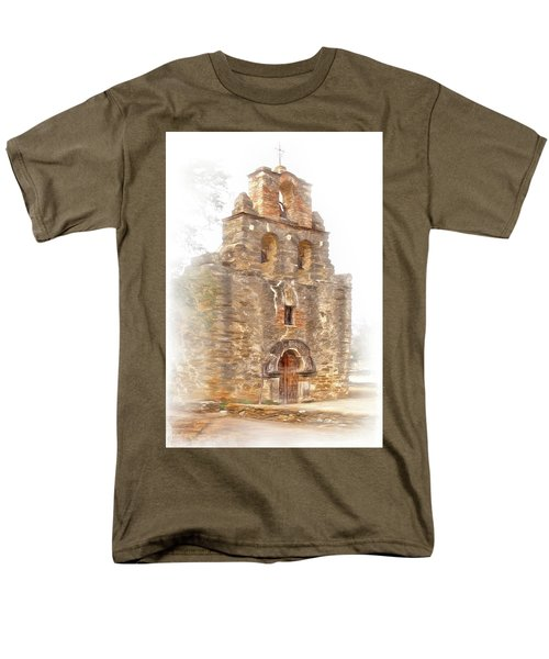 Men's T-Shirt  (Regular Fit) featuring the photograph Mission San Francisco De La Espada In Faux Pencil Drawing  by David and Carol Kelly