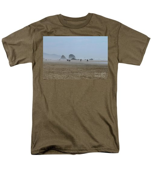 Misty Morning At Cannon Beach Men's T-Shirt  (Regular Fit) by Christiane Schulze Art And Photography