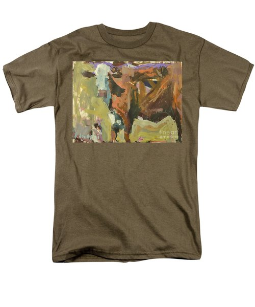 Men's T-Shirt  (Regular Fit) featuring the painting Mixed Media Cow Painting by Robert Joyner