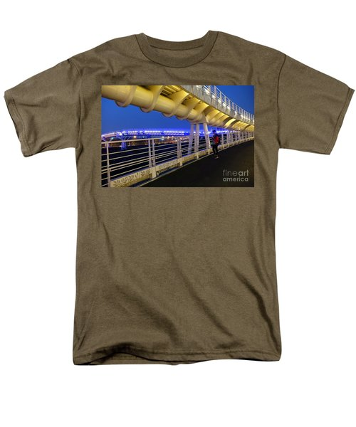 Men's T-Shirt  (Regular Fit) featuring the photograph Modern Bicycle Overpass By Night by Yali Shi