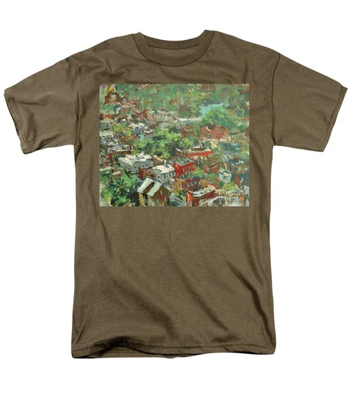 Men's T-Shirt  (Regular Fit) featuring the painting Modern Cityscape Painting Featuring Downtown Richmond Virginia by Robert Joyner