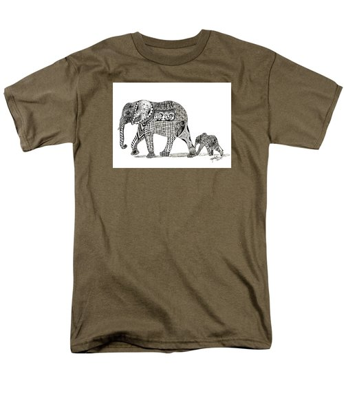 Momma And Baby Elephant Men's T-Shirt  (Regular Fit) by Kathy Sheeran