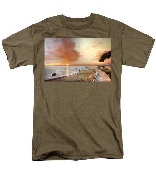 Men's T-Shirt  (Regular Fit) featuring the painting Moonstone Cambria Sunset by Michael Rock