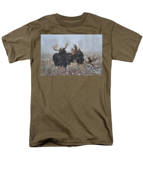 Men's T-Shirt  (Regular Fit) featuring the photograph Moose Antlers In The Snow by Adam Jewell