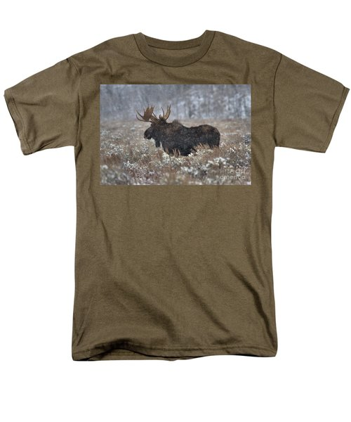 Men's T-Shirt  (Regular Fit) featuring the photograph Moose In The Snowy Brush by Adam Jewell
