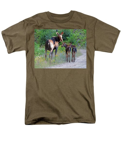 Moose Mom And Babies Men's T-Shirt  (Regular Fit) by Cindy Murphy - NightVisions