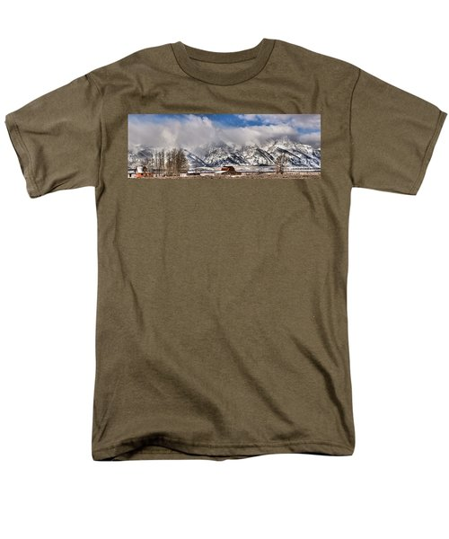 Men's T-Shirt  (Regular Fit) featuring the photograph Mormon Row Early Winter Panorama by Adam Jewell
