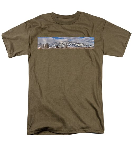 Men's T-Shirt  (Regular Fit) featuring the photograph Mormon Row Snowy Extended Panorama by Adam Jewell