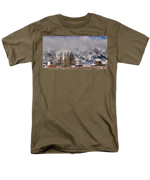 Men's T-Shirt  (Regular Fit) featuring the photograph Mormon Row Winter Morning Panorama by Adam Jewell