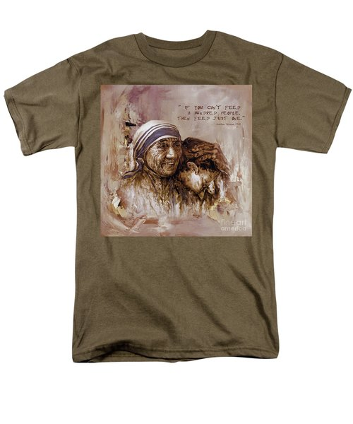 Men's T-Shirt  (Regular Fit) featuring the painting Mother Teresa Of Calcutta  by Gull G