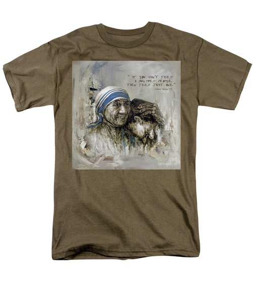 Men's T-Shirt  (Regular Fit) featuring the painting Mother Teresa Portrait  by Gull G