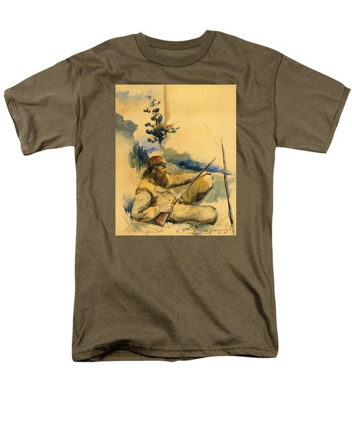 Men's T-Shirt  (Regular Fit) featuring the drawing Mountain Man by Charles Schreyvogel