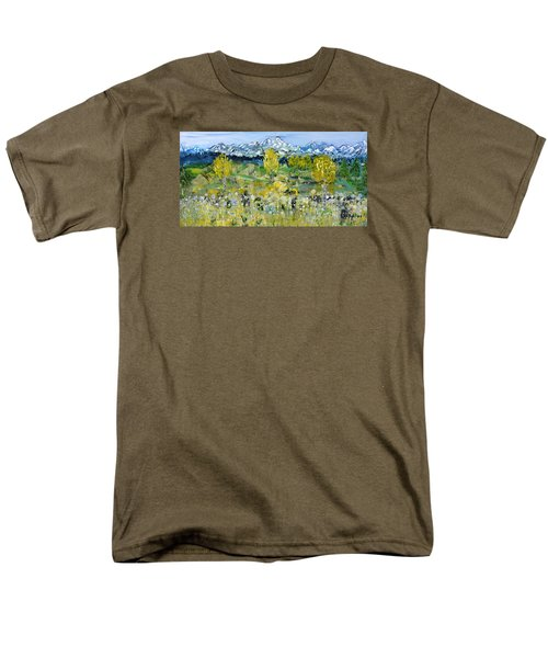 Men's T-Shirt  (Regular Fit) featuring the painting Mountain View by Evelina Popilian