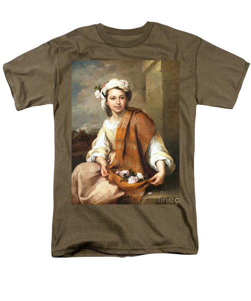 Men's T-Shirt  (Regular Fit) featuring the painting Muchacha Con Flores by Pg Reproductions