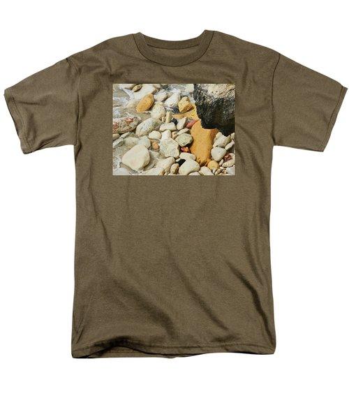 multi colored Beach rocks Men's T-Shirt  (Regular Fit) by Expressionistart studio Priscilla Batzell