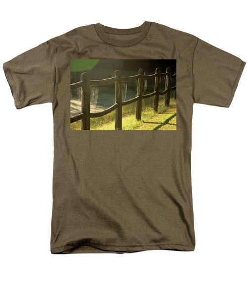 Multiple Spiderwebs On Wooden Fence Men's T-Shirt  (Regular Fit) by Emanuel Tanjala