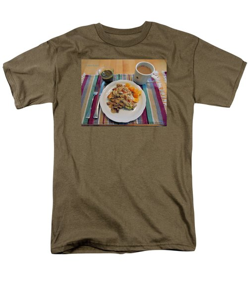 Men's T-Shirt  (Regular Fit) featuring the digital art Mushroom Gravy Over Breakfast Quiche  by Jana Russon