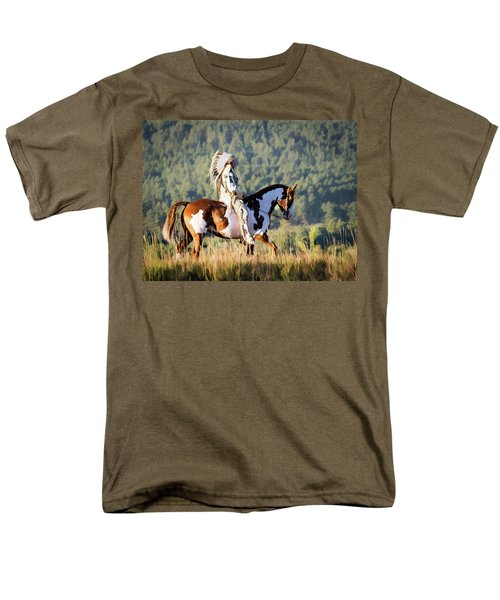 Native American On His Paint Horse Men's T-Shirt  (Regular Fit)