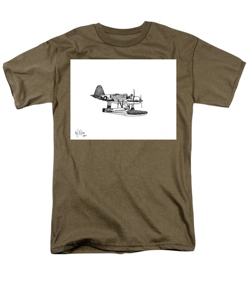 Navy Scout Observation Plane Pen And Ink No  Pi201 Men's T-Shirt  (Regular Fit) by Kip DeVore