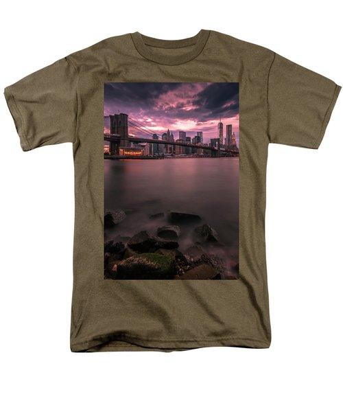 New York City Brooklyn Bridge Sunset Men's T-Shirt  (Regular Fit) by Ranjay Mitra