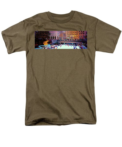 Men's T-Shirt  (Regular Fit) featuring the photograph  New York City Rockefeller Center Ice Rink  by Tom Jelen