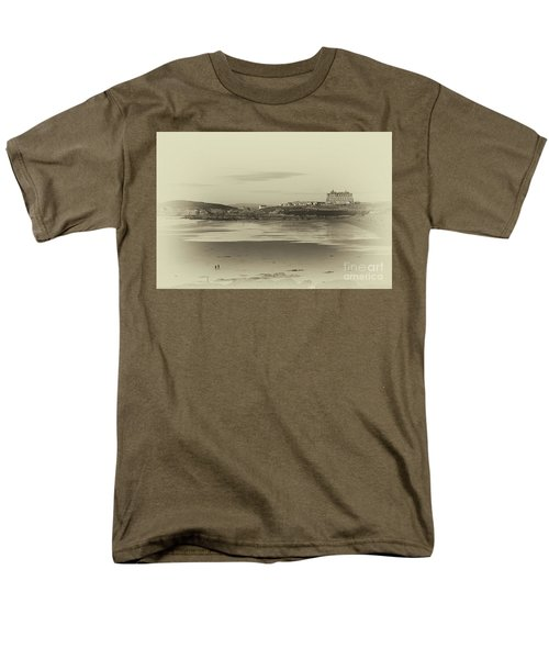 Men's T-Shirt  (Regular Fit) featuring the photograph Newquay With Old Watercolor Effect  by Nicholas Burningham