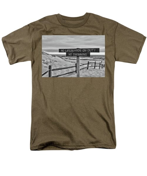 No Lifeguards On Duty Black And White Men's T-Shirt  (Regular Fit) by Paul Ward